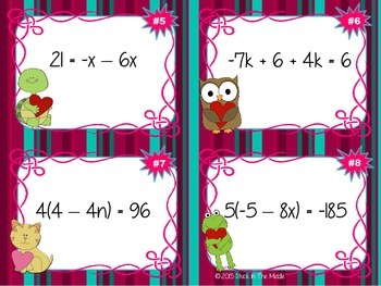 Solving Equations: Multi-Step Task Cards