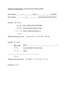 Solving Equations Notes