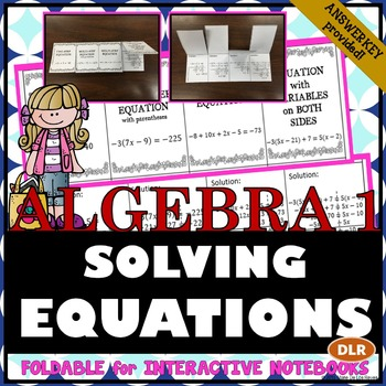 Solving Equations Notes Foldable for Interactive Notebooks