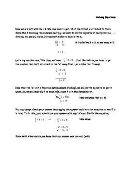 Solving Equations Notes / Practice (Simple Equations) for 5th/6th Grade