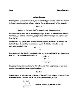 Solving Equations Notes / Practice (Simple Equations) for
