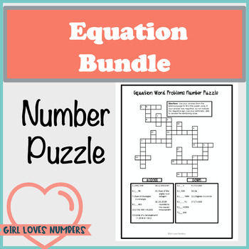 Solving Equations Number Puzzle Bundle