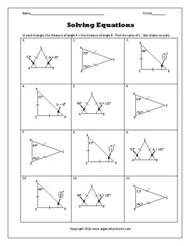 Solving One-Step Equations by All Operations (Triangle Problems)