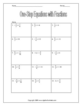 Solving One-Step Equations Fractions (Reciprocals Only) Worksheet