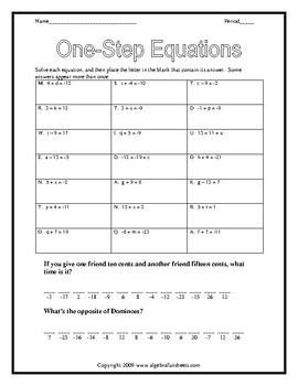 Solving One-Step Equations by Adding or Subtracting Worksheet