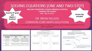 Solving Equations (One and Two-Step) - A PowerPoint presentation and printables!