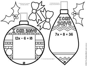 Christmas Algebra Solving Equations Ornaments