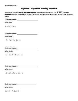 Solving Equations Partner Activity
