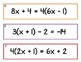 Algebra Solving Equations Partner Activity