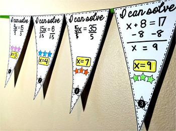 Solving Equations Pennant {1-step equations}
