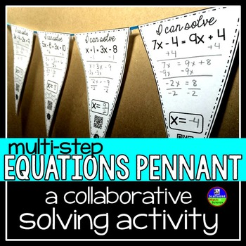 Multi-step Equations Math Pennant Activity by Scaffolded Math and ...