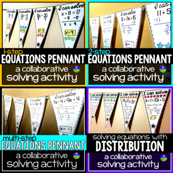 Solving Equations Math Pennants Bundle