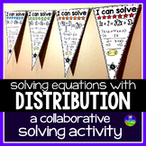 Multi-step Equations Math Pennant Activity with Distribution