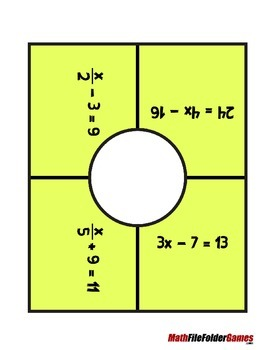 Solving Equations - Placemat Equations