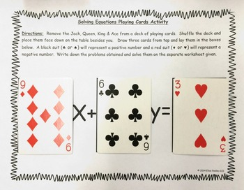 Solving Equations Playing Cards Activity