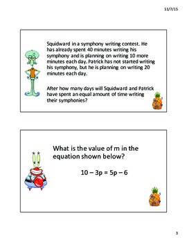 Solving Equations PowerPoint Game Review (Texas SE 8.8C)