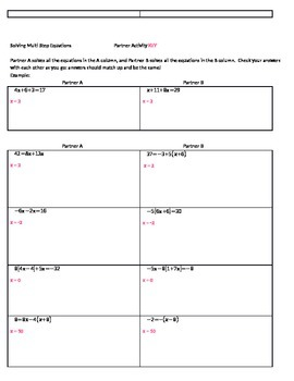 Solving Equations Practice Partner Activity