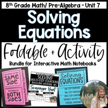 Solving Equations (Pre-Algebra Foldable & Activity Bundle)