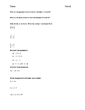 Solving Equations Pre-Asessment