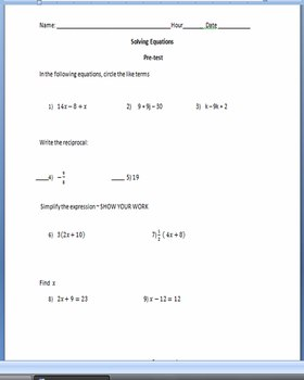 Solving Equations ~ Pre-test and Chapter Test