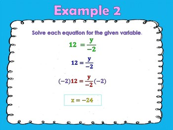 Solving Equations - Properties of Multiplication and Division