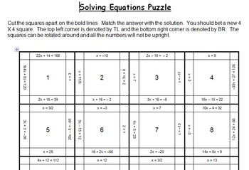 Solving Equations Puzzle - 1 and 2 steps