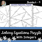 Solving Equations with Integers Puzzle