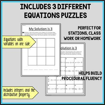 Solving Equations Puzzle - Integers and Distributive Property