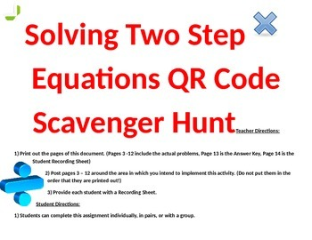 Solving Equations QR Code Scavenger Hunt
