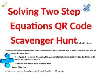 Solving Equations QR Code Scavenger Hunt