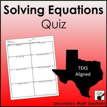 Solving Equations Quizzes