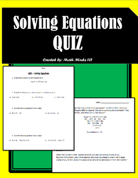 Solving Equations - Quiz!
