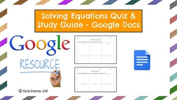 Solving Equations Quizzes (3 Differentiated Versions) & Study Guide