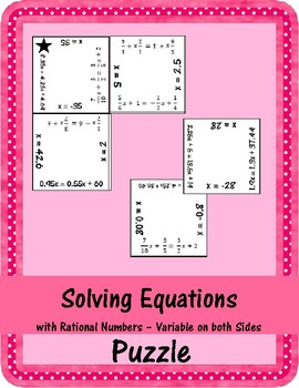 Solving Equations - Rational Numbers - Variable on both Sides