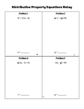 Solving Equations Relay Race