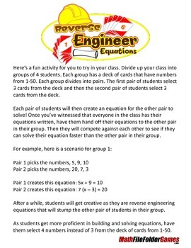 Solving Equations - Reverse Engineer Equations