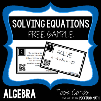 Solving Equations Review ALGEBRA Task Cards with QR codes FREE SAMPLE