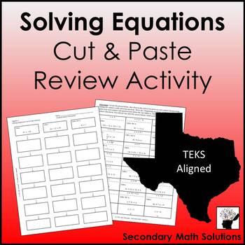 Solving Equations Review Activity (Cut & Paste)  (A5A, A12E)