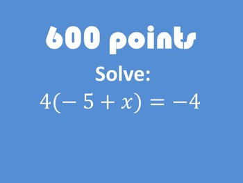 Solving Equations Review Game ZONK! (7.EE.3)