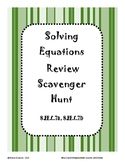Solving Equations Review Scavenger Hunt