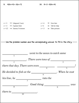 Solving Equations Review {Solving Multi Step Equations Activity}