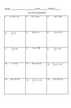 Solving Equations Review and Test Bundle