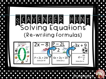 Solving Equations (Rewriting Formulas) Scavenger Hunt & Exit Tickets