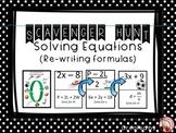 Solving Equations (Rewriting Formulas) Scavenger Hunt & Ex