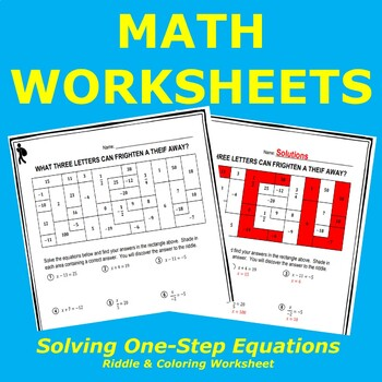 Solving Equations Riddle & Coloring Worksheet #2