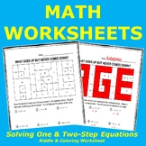 Solving Equations Riddle and Coloring Worksheet (One-Step