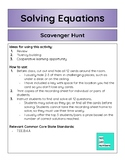 Solving Equations Scavenger Hunt