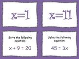 Solving Equations Scavenger Hunt 6.EE.5 & 6.EE.7