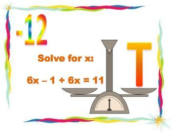 Solving Equations Scavenger Hunt Activity - Great unit or STAAR Review