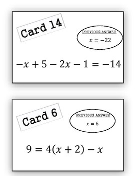 Solving Equations Scavenger Hunt Activity (Multi-Step Equations included)